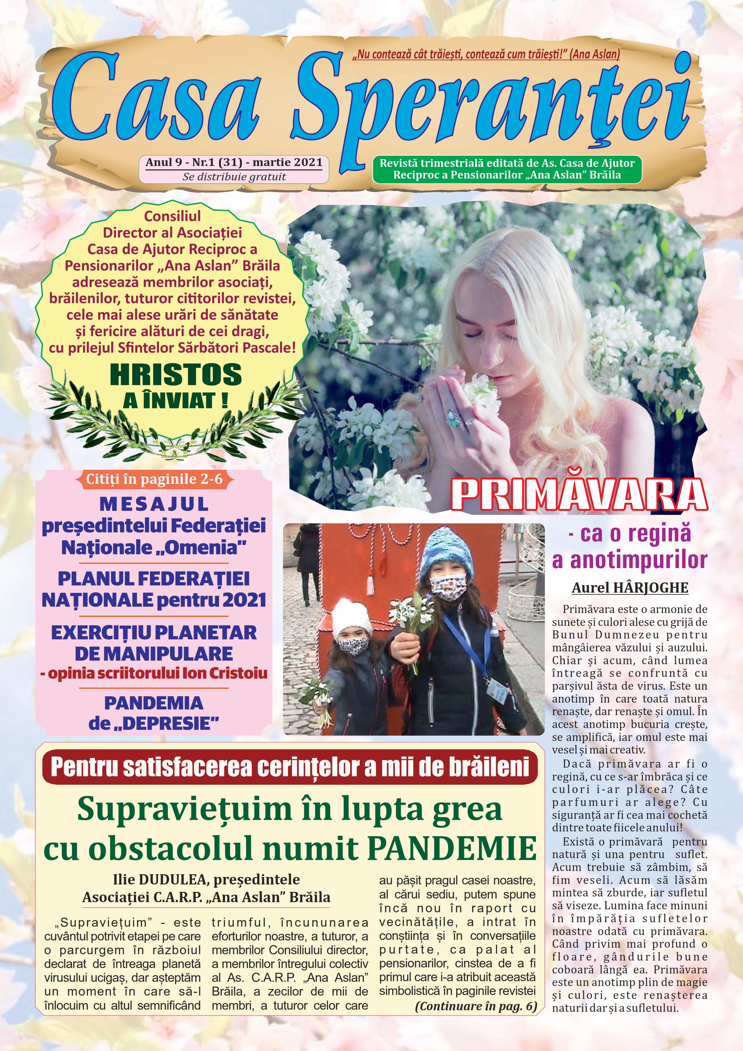 Revista Casa Speranței anul 9 - nr. 1(31) - martie 2021